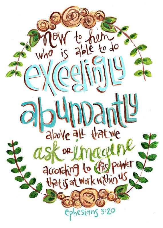 Scripture Art  Ephesians 320  Bible Verse Print by artbyerinleigh