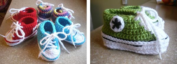 Crochet Tutorial Zapatitos Escarpines : Converse and Crochet on Pinterest