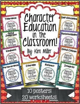 These character education posters are the perfect addition to any classroom! Colorful and useful, these posters are an excellent way to visually reinforce character education throughout the year.   Each poster comes with 2 students worksheets to help reinforces the character trait.   You get 10 character trait posters and 20 worksheets for students. http://www.teacherspayteachers.com/Store/Kim-Miller-24