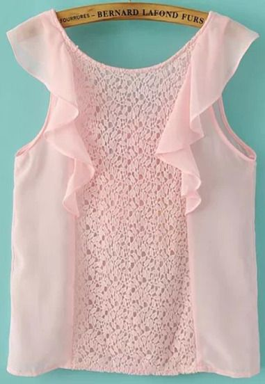 Pink Sleeveless Lace Ruffle Chiffon Blouse