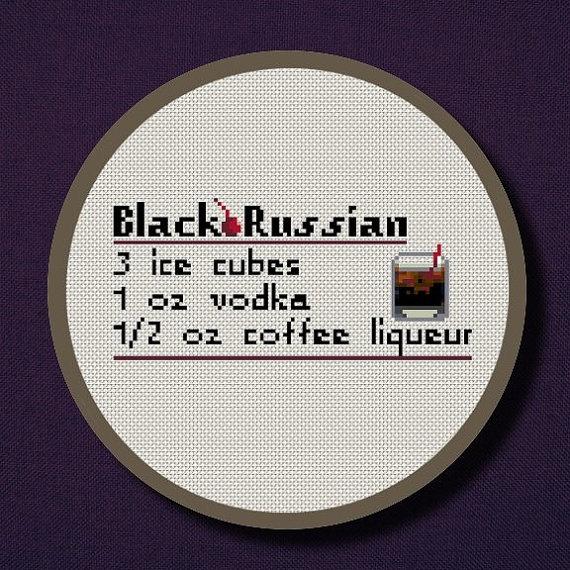 Black Russian Drink Recipe Cross Stitch PDF Pattern