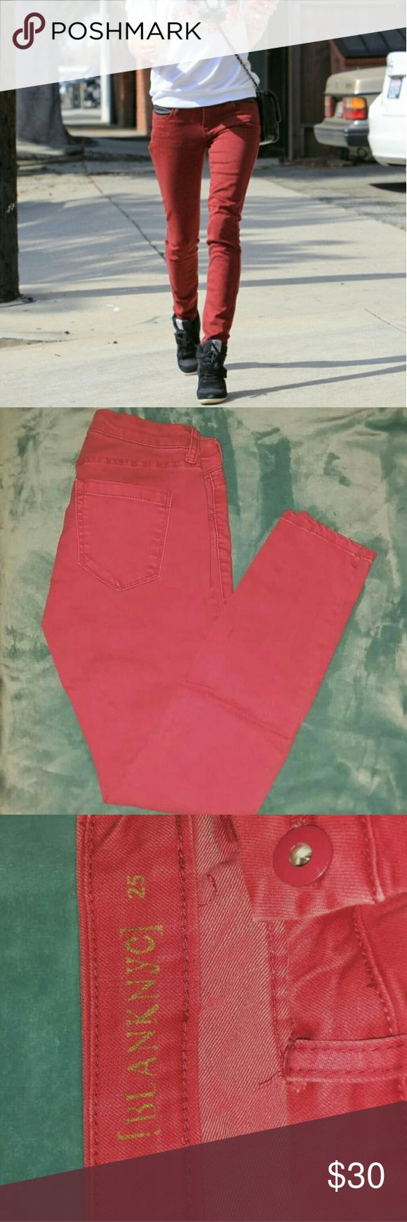 Blank NYC faded red jeans The true color is closest in the covershot. They're definitely not as bright as they seem in the last 2 pictures. They have a faded/washed red look.   Excellent condition, worn once.   ✔send reasonable offers  ❌lowballers will be blocked  ❌DO NOT ASK ME TO TRADE   ❤ Check out my closet for anything else you might like to save on a bundle!  🛍 Add any item(s) to your bundle to receive a personal discount! Blank NYC Jeans