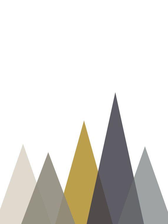 Mountain Art Mustard Prints Geometric Decor by MelindaWoodDesigns