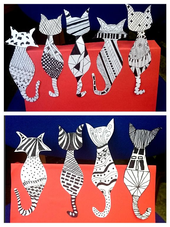 Zentangle pattern cats