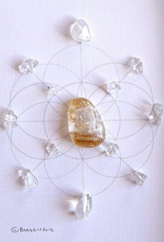 WEALTH NEW BEGINNINGS framed sacred crystal grid by CrystalGrids