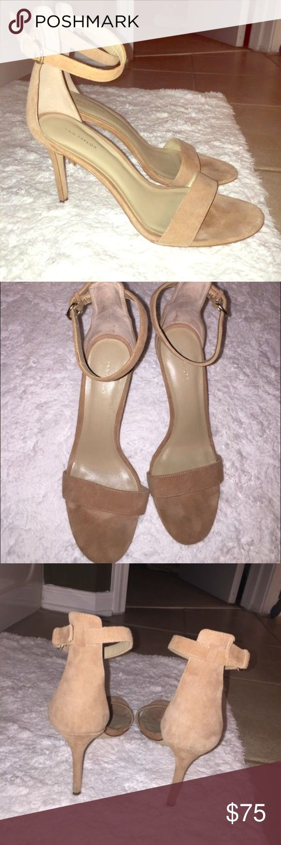 Ann Taylor 9.5 Suede Sandals Nude suede ankle strap heels. Worn 4-5 times but they're too big Ann Taylor Shoes Heels