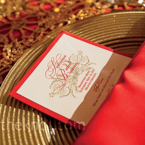 Red and Gold Menu Cards