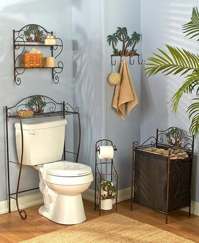 Palm Tree Themed Bath Collection Bronze 3D Floral Accents Tropical Decor