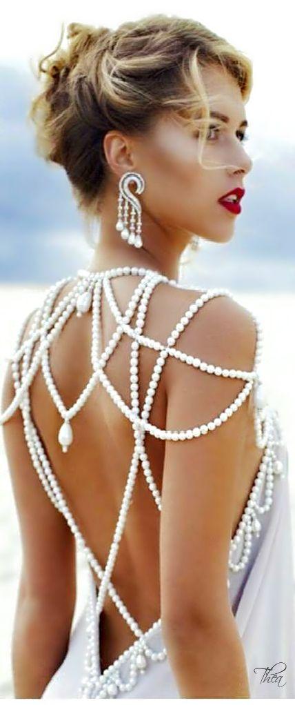 Elegant for weddings, proms, dinner date. Beautiful pearls = back of dress.