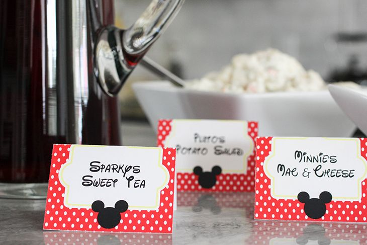 Mickey Mouse Birthday Party Ideas, printable Place Cards, Food Cards and a free downloadable Mickey Mouse Font