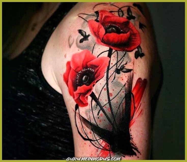 Perfekte Schwarze Und Rote Aquarell Tatowierungs Verfahren Durch Wilde Mohnblumen Blumen Tattoos In 2020 Mohnblumen Tattoo Mohn Blume Tattoo Beeindruckende Tattoos