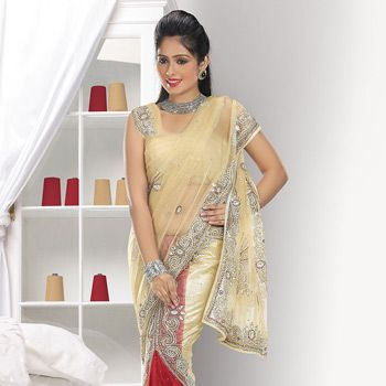 Beige and Red Net Lehenga Style Saree with Blouse: SPG63