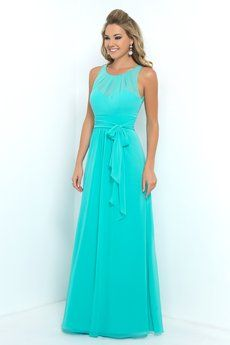 Long version of <a href='/Bridesmaids/Alexia-Designs/Short-Pleated-Bow-Keyhole-back-Style-4204/'>4204</a>.Bella Chiffon bridesmaid dress with pleated neckline, floaty pleated skirt