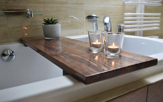 Bathtub Caddy  Bathtub Shelf  Bathtub Tray  Rustic by KubuHandmade