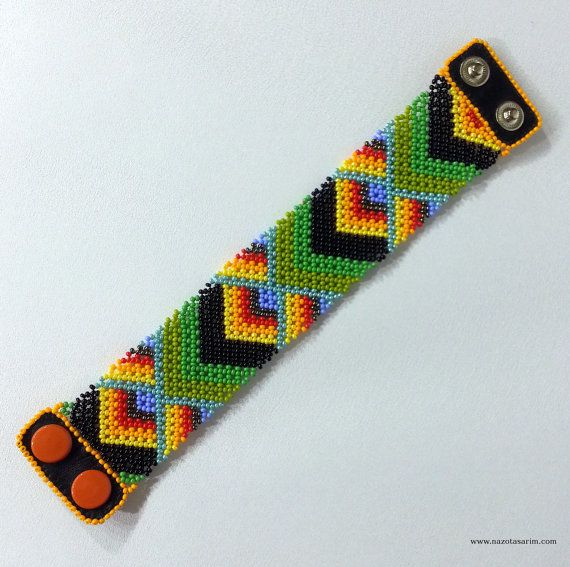 Peyote Dorado Mexican Beaded BraceletColorful beaded by NazoDesign, $13.50
