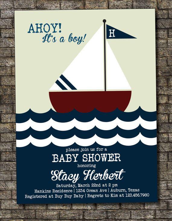 Nautical Baby Shower Invitation, Sailor Baby Shower Invitation, Vintage Baby Boy Shower, Ahoy, It's a Boy 5x7 - Custom Printable by PurplelephantDesigns on Etsy