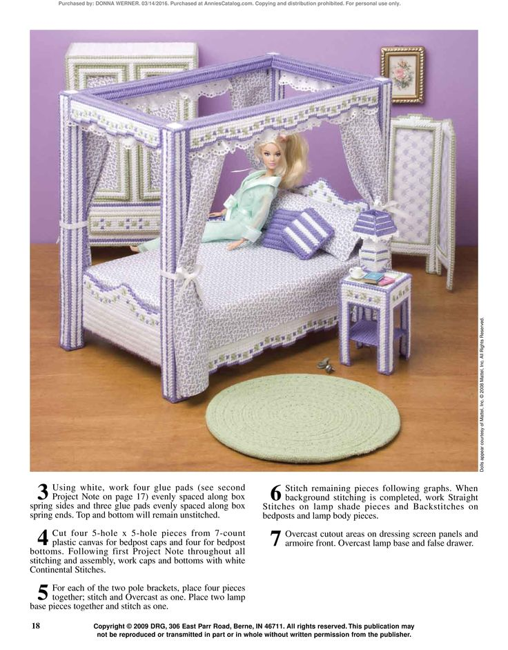 Fashion doll furniture pg 19 barbie pinterest best plastic canvas and dolls ideas Plastic bedroom furniture