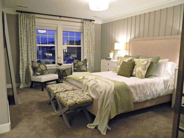 Grey Bright Paint Colors For Fascinating Bedrooms With Drum Pendant Light Above Bed And Curtains For Green Master