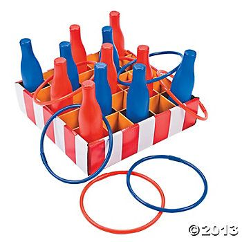 Carnival Bottle Ring Toss Game, spray paint beer or soda bottles and use pool dive rings (*Tess Evans idea)