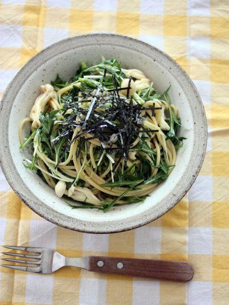 和えて簡単♪水菜の和風パスタ by 山本路子(みるまゆ)   レシピサイト ...