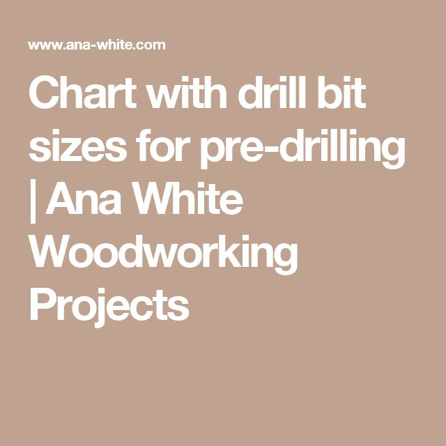 Chart with drill bit sizes for pre-drilling | Ana White Woodworking Projects