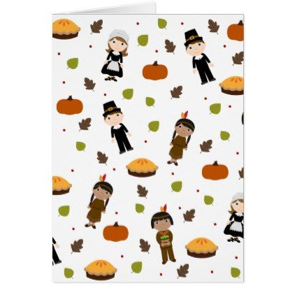 Pilgrims and Indians pattern - Thanksgiving Card - thanksgiving greeting cards family happy thanksgiving