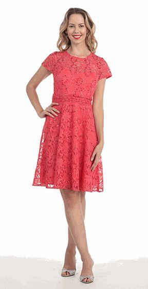 Coral Lace Cocktail Dresses