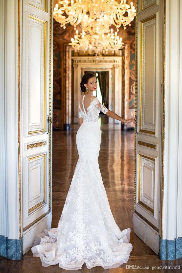 Elegant Lace Short Sleeves Mermaid Wedding Dresses 2017 Milla Nova Bridal Gowns Deep V Neckline Delicate Belt On The Waist Wedding Dresses Online Bridal From Zhiyuanwedding, $603.02| DHgate.Com
