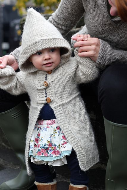 Lovely way to keep baby warm this winter:  Roseberry pattern by Ann Kingstone