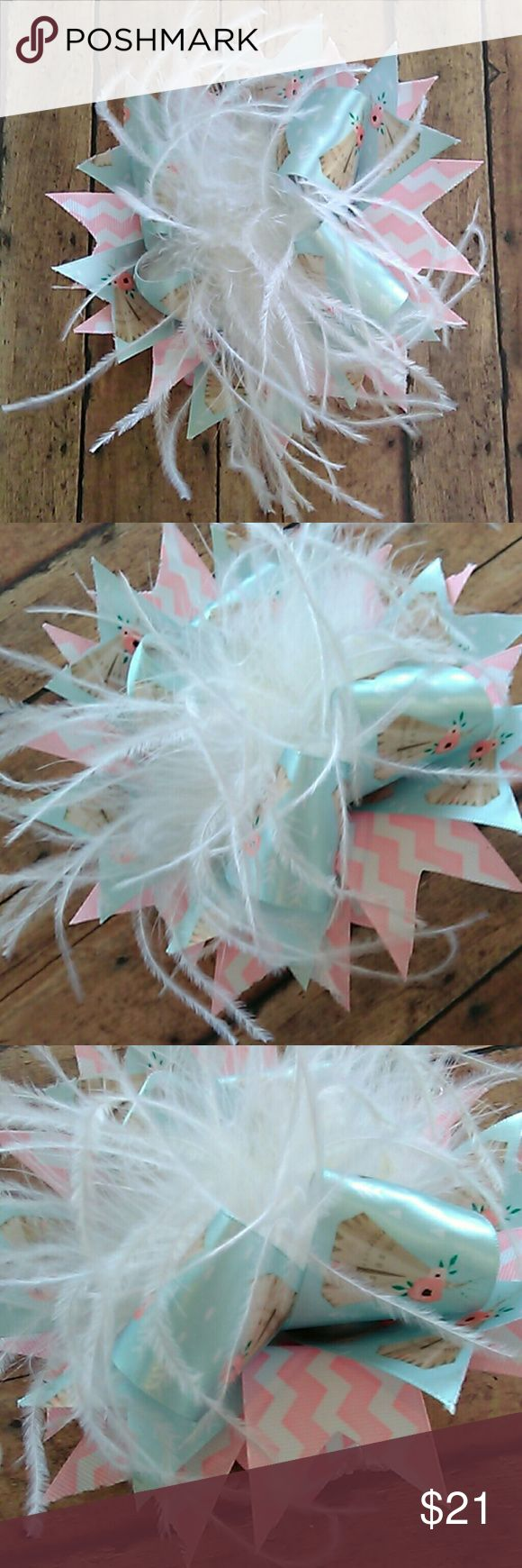Gorgeous Chevron/TeePee Headband Brand new, hand made, white elastic headband with pink/white chevron ribbon, sky blue ribbon with tan, floral teepees and white plumage, has alligator clip on elastic headband. Accessories Hair Accessories