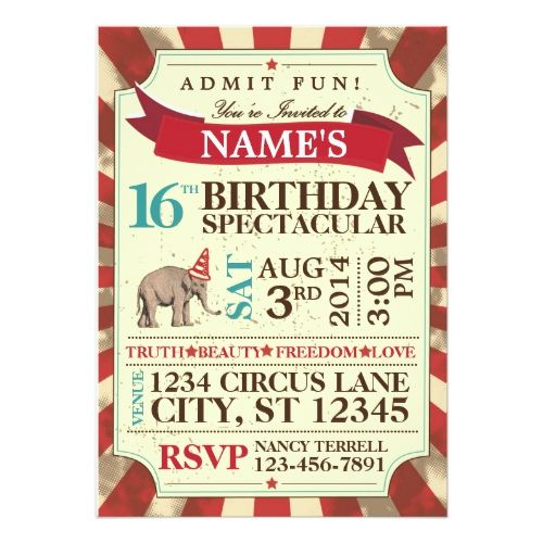 25 best ideas about Circus party invitations – Circus Party Invitation