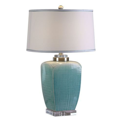 Introducing The 26.5 Inch Tall Linnae Light Blue Ceramic Lamp Created With  A Subtle Mesh