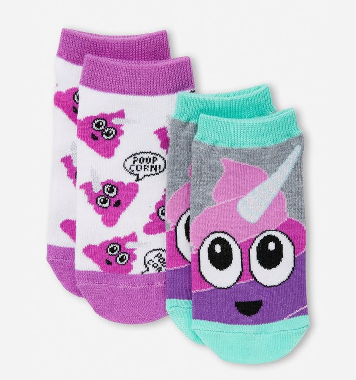Justice Girls UNICORN EMOJI 2 Pairs Socks Small Medium NWT #Justice #AnkleSocks