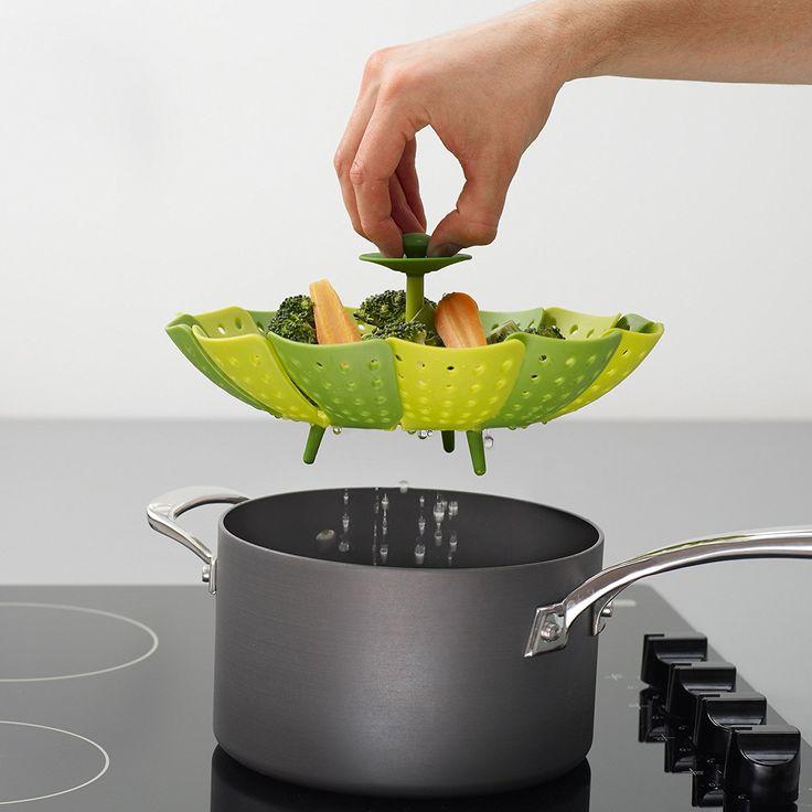 Amazon.com: Joseph Joseph 40023 Lotus Steamer Basket Folding Non-Scratch for Steaming Vegetable Silicone Feet, Green: Home & Kitchen