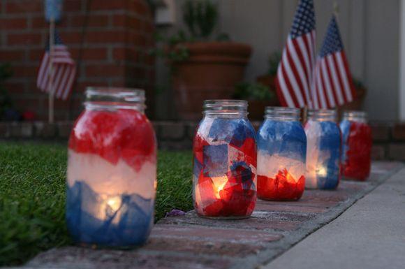 4th of July Mason Jar Luminaries: Blue Mason Jars, Old Mason Jars, Idea, Fourth Of July, July Crafts, 4Th Of July, July 4Th, Diy, Candle Jars