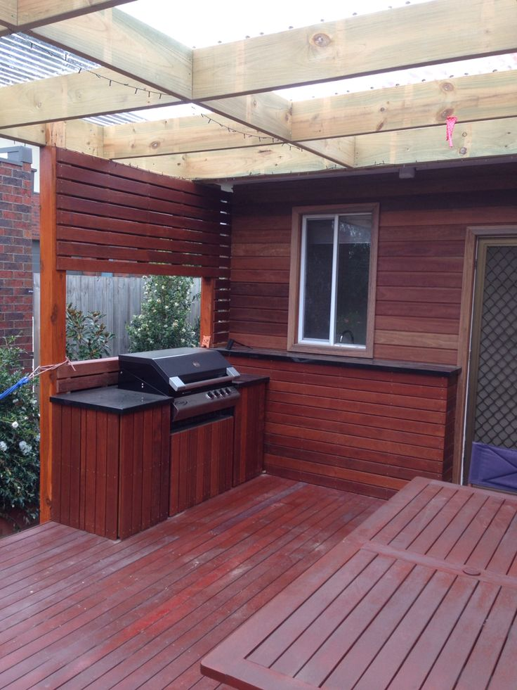 BBQ Area completed with Granite Benchtops and Spotted Gum Cladding.