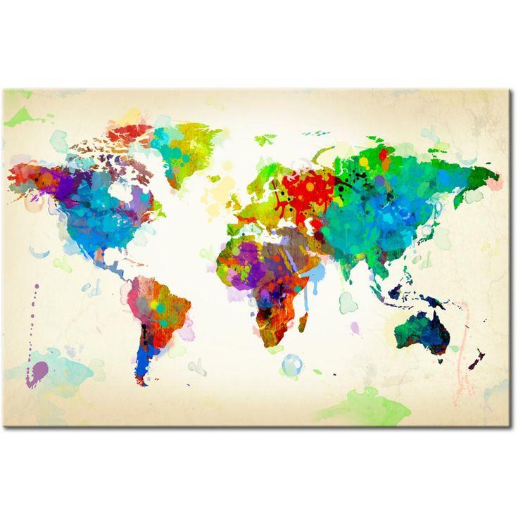 Mappa del mondo in una veste artistica - questa decorazione murale si presenterà benissimo in un soggiorno elegante #mappa #mappe #quadro #quadri #quadro-su-tela #foto-su-tela