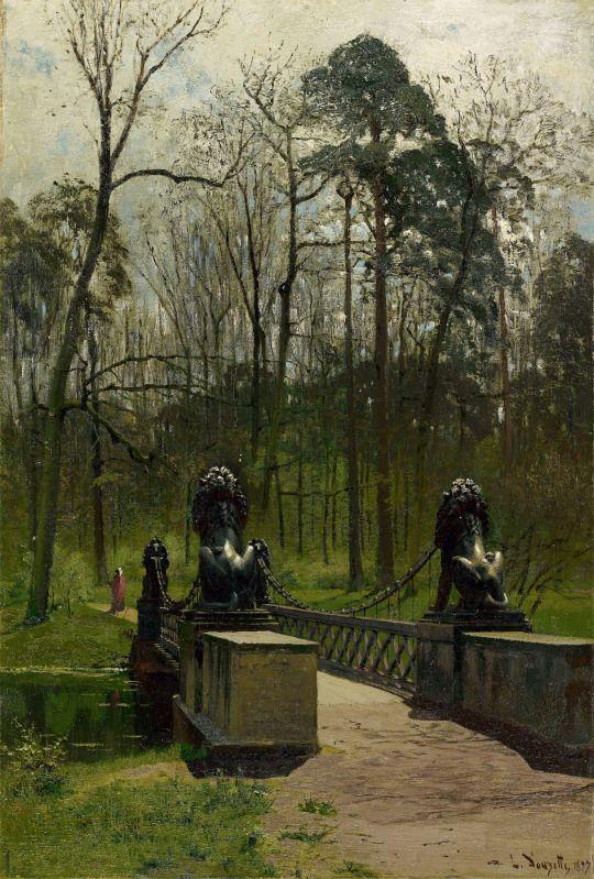 Louis Douzette (German, 1834 – 1924)  The Lion Bridge in the Tiergarten (Berlin), 1897  Oil on canvas. 59,5×40,5 cm
