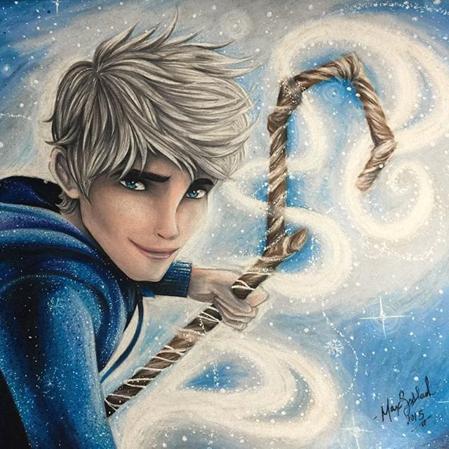 Jack Frost is finished!!! Took me long enough  I'm happy with the way it came out, I think taking a break between coloring Jack and coloring the background really helped, I like to leave some room to brainstorm and to be sure the coloring technique I'm using, won't be regretted. #jackfrostfanart #prismacolor #prismacolorpencils #polychromos #tonedgray #strathmore #silverhair #riseoftheguardians #riseoftheguardiansfanart #winter #magic #micron #atyouspica