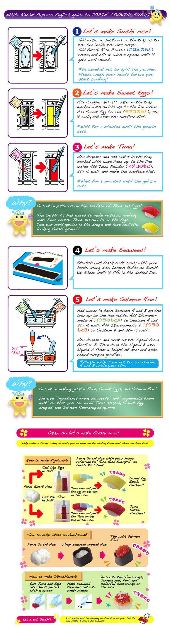 Popin' Cookin! Sushi Kit English Instructions