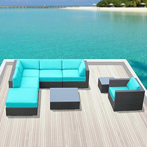 Luxxella Outdoor Sofa Set Beruni 8 Pcs Modern Turquoise Set Furniture All Weather Wicker Sofa Set
