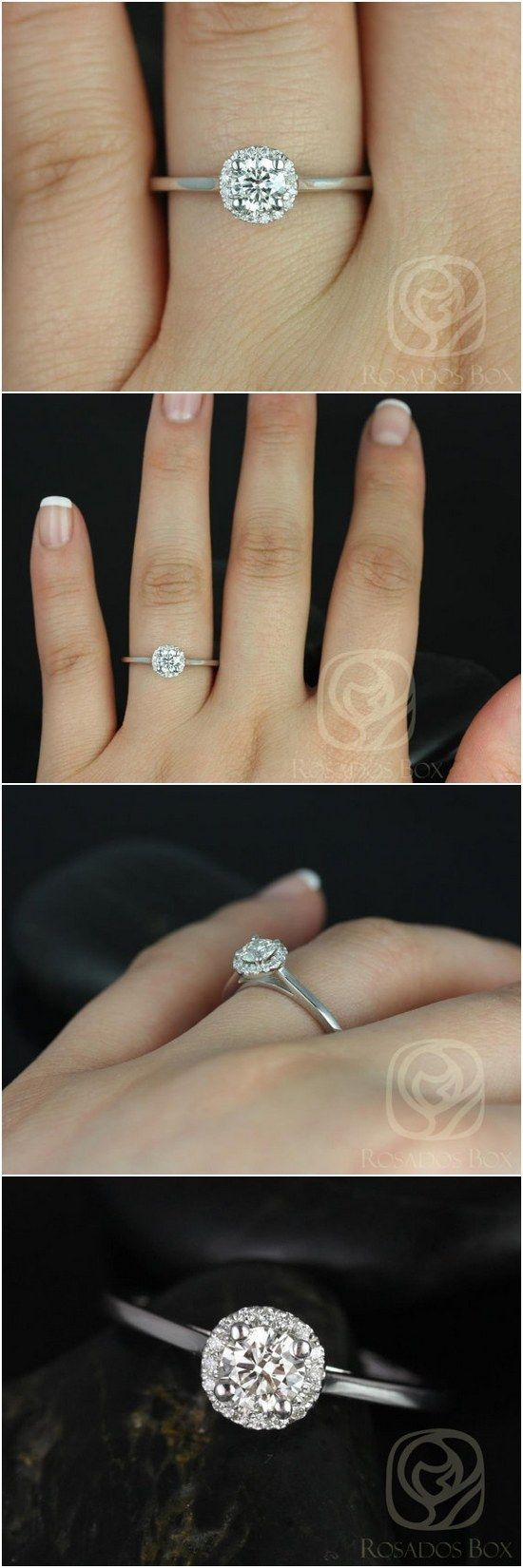 Amerie 4.50mm 14kt White Gold Round FB Moissanite and Diamonds Halo Engagement Ring / http://www.deerpearlflowers.com/inexpensive-engagement-rings-under-1000/
