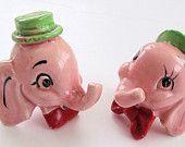MR. & MRS.  DUMBO Head Vintage Ceramic Salt and Pepper Shakers Set