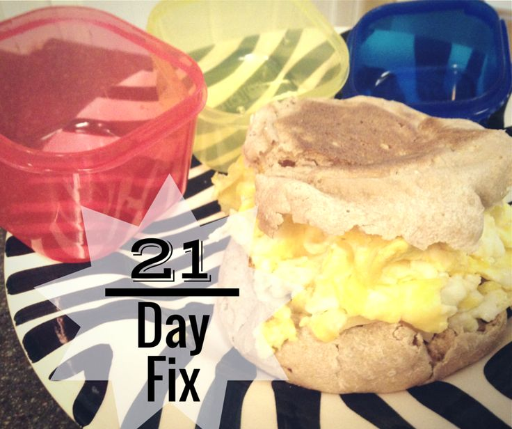 21 Day Fix Meal This is an example of a breakfast- 2 eggs = 1 red 1 whole wheat english muffin = 2 yellow Pepperjack cheese = 1 blue Based on your goals, you use the guide to determine how many of each container (food groups) you should eat, and use a tally system to keep track of how many you have eaten throughout the day. No counting calories. Get your macronutrients in check. Eat better quality foods. Bam.