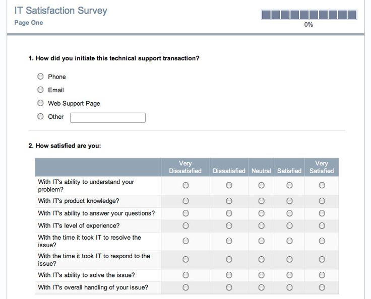 Satisfaction Surveys » IT Satisfaction Survey SurveyGizmo IT - feedback survey template