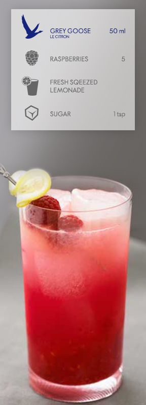 GREY GOOSE® LE CITRON: BERRY LEMONADE PITCHER. The bright taste of GREY GOOSE® Le Citron Flavored Vodka mingles with the fresh flavor of ripe raspberries and fresh-squeezed lemonade. #FlyBeyond