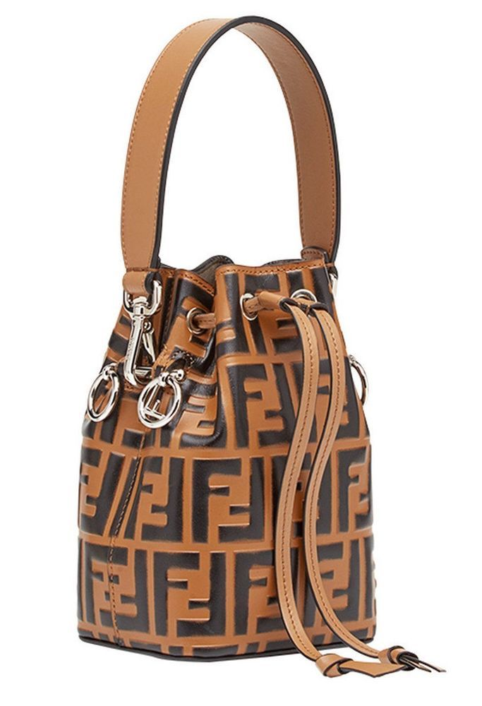 bf29c2a8917a FENDI MON TRÉSOR MINI BUCKET BAG FF LOGO BROWN TOBACCO TOTE BAG 8BS010A23X  F12FU  FENDI  TOTEHANDBAGShoulderBag