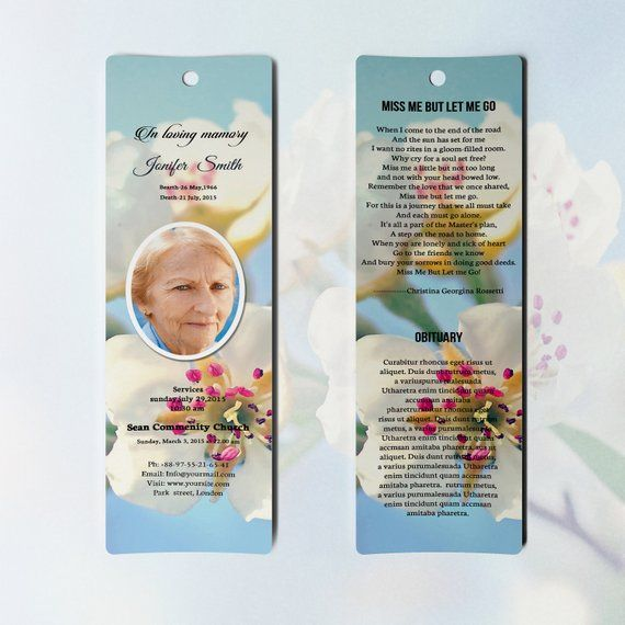 Memorial Bookmark Template Printable Bookmark Microsoft Word And Photoshop Template Ins Bookmark Template Bookmarks Printable Funeral Program Template Free