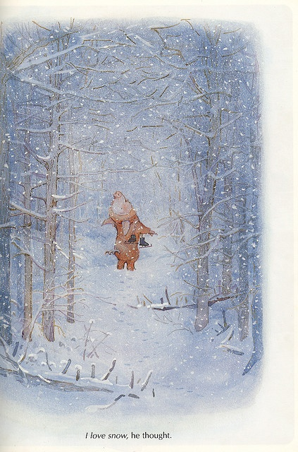 by Holly Hobbie - the wonder of snowfall in the woods