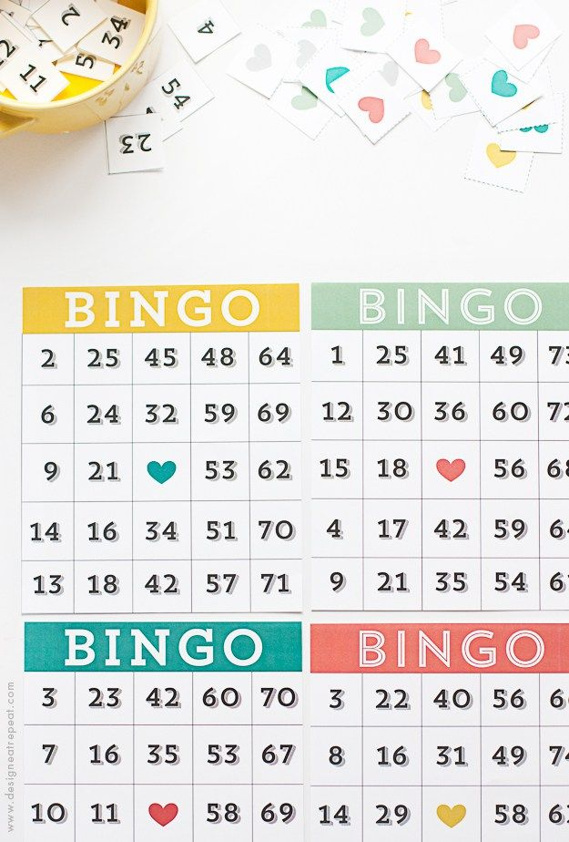 Printable & Cute Bingo Cards - Download a set of 4 for FREE over at Design Eat Repeat!